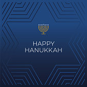 Happy Hanukkah card template. Hanukkah is the name of the Jewish holiday. Stock illustration