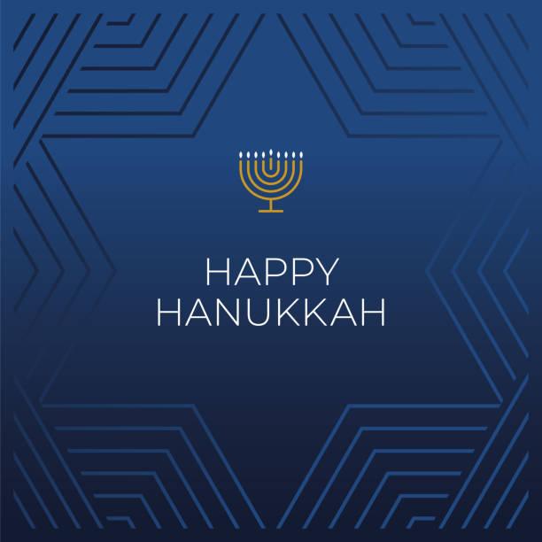 ilustraciones, imágenes clip art, dibujos animados e iconos de stock de plantilla de tarjeta feliz hanukkah. - hanukkah