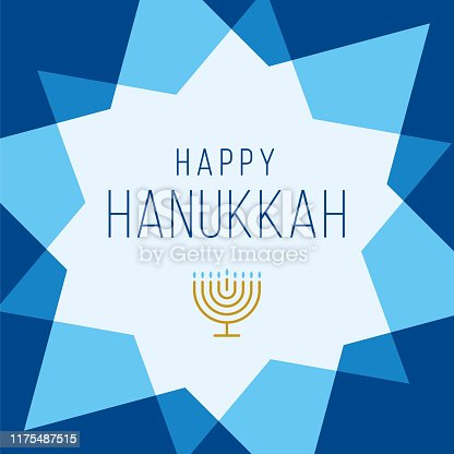 Happy Hanukkah card template with stars. Stock illustration