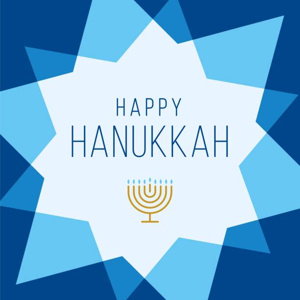 ilustraciones, imágenes clip art, dibujos animados e iconos de stock de feliz plantilla de tarjeta hanukkah con estrellas. - hanukkah