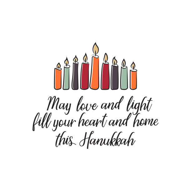 ilustraciones, imágenes clip art, dibujos animados e iconos de stock de tarjeta colorida de feliz hanukkah. fiesta para los judíos. aislado sobre fondo blanco. - jánuca