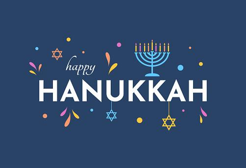 Happy Hanukkah colorful card with menorah. Vector