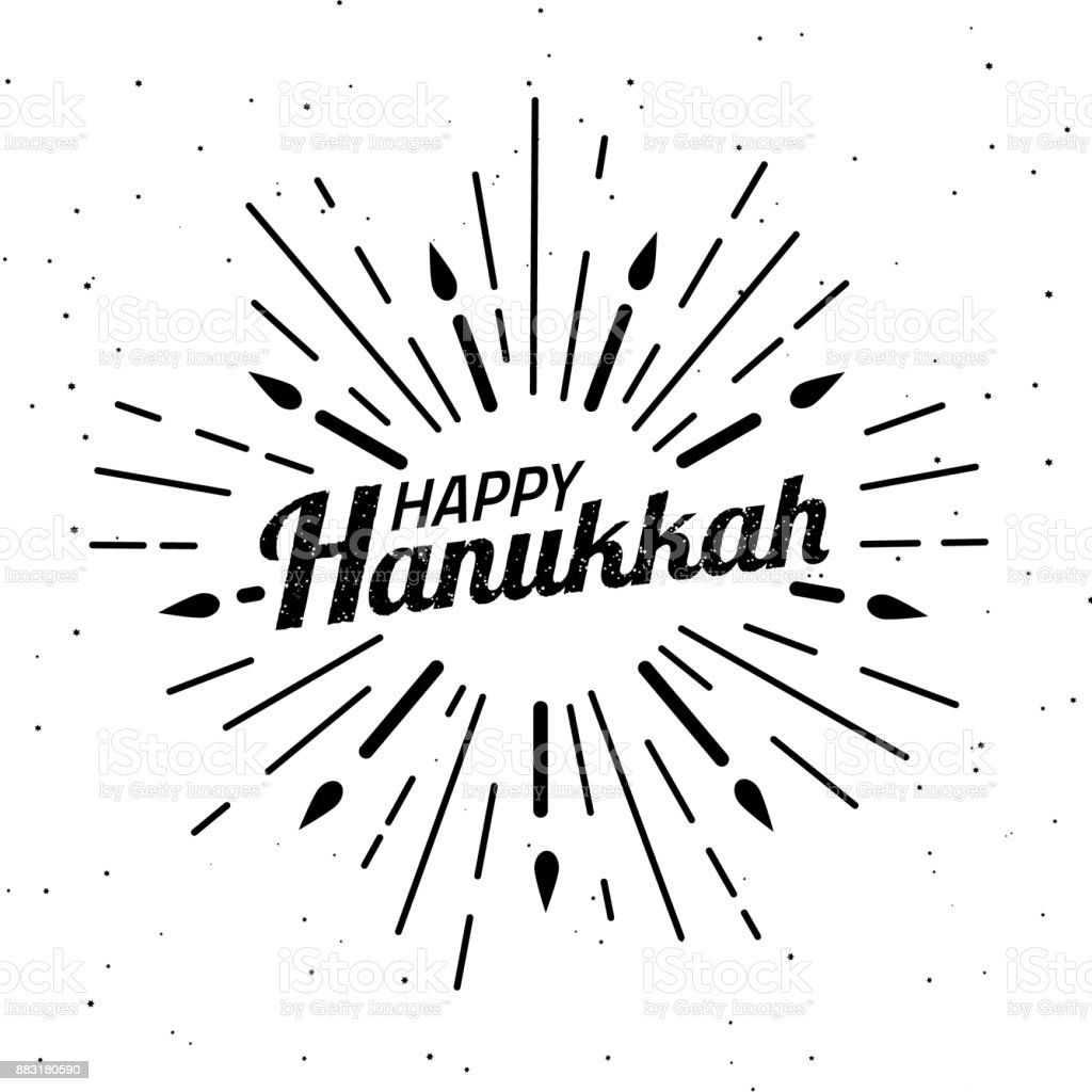 Happy Hanukkah. Font composition with geometric hand drawn sunbursts, sun beams and candles in vintage style. Vector Holiday Religion Illustration. Jewish Festival Of Lights. symbol design vector art illustration
