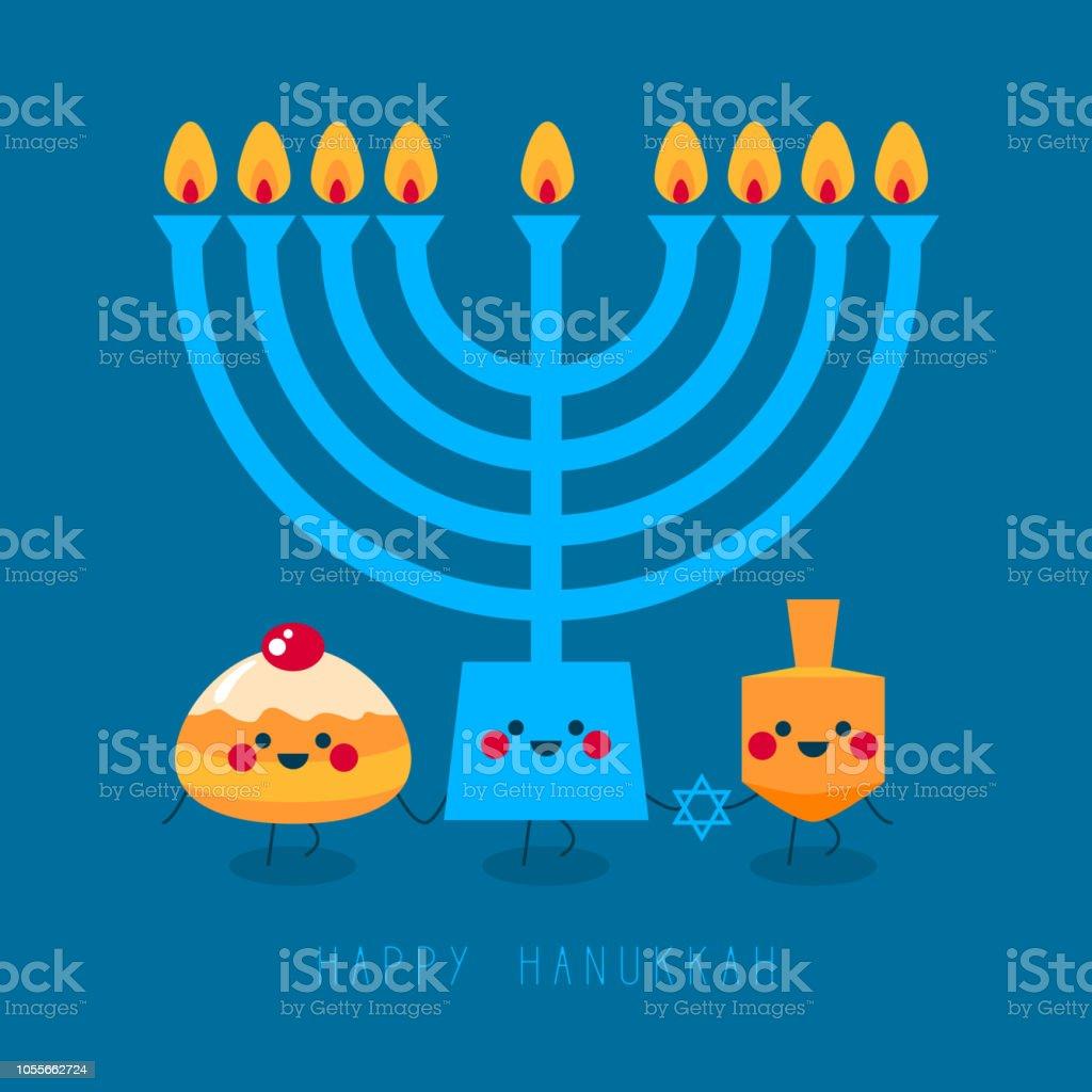 Happy Hanukkah! Greeting card for jewish holiday. Hanukkah donut...