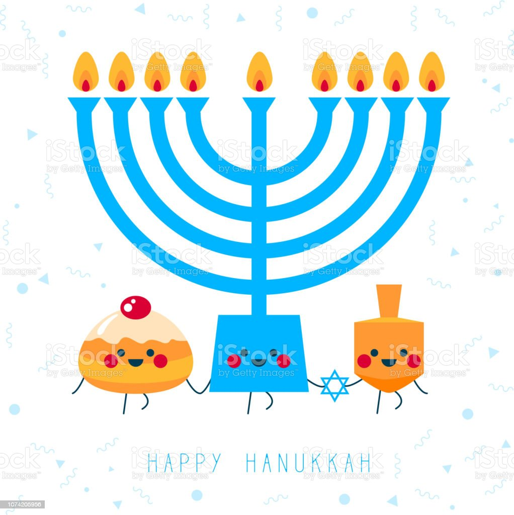 Happy Hanukkah! Greeting card for jewish holiday. Hanukkah donut...
