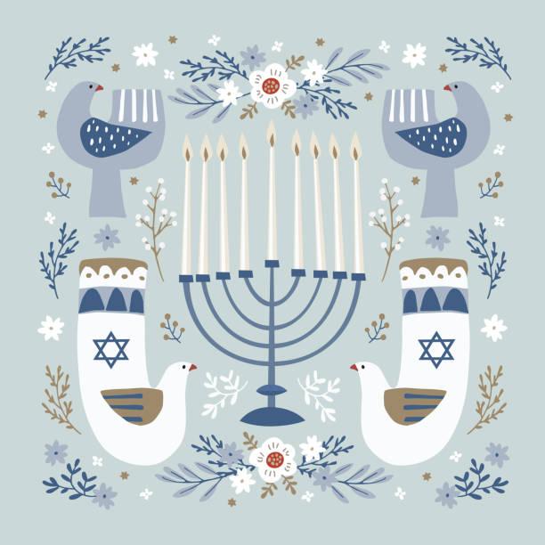 ilustraciones, imágenes clip art, dibujos animados e iconos de stock de tarjeta de felicitación feliz hanukkah, invitación con portavelas dibujada a mano, pájaros palomas ornamentales, estrellas david y flores. ilustración vectorial para el festival judío de la luz. patrón decorativo floral. - hanukkah
