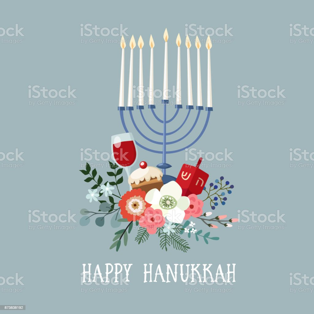 Happy Hanukkah greeting card, invitation with hand drawn candleholder, dreidle, donut and floral bouquet. Vector illustration for Jewish Festival of light vector art illustration