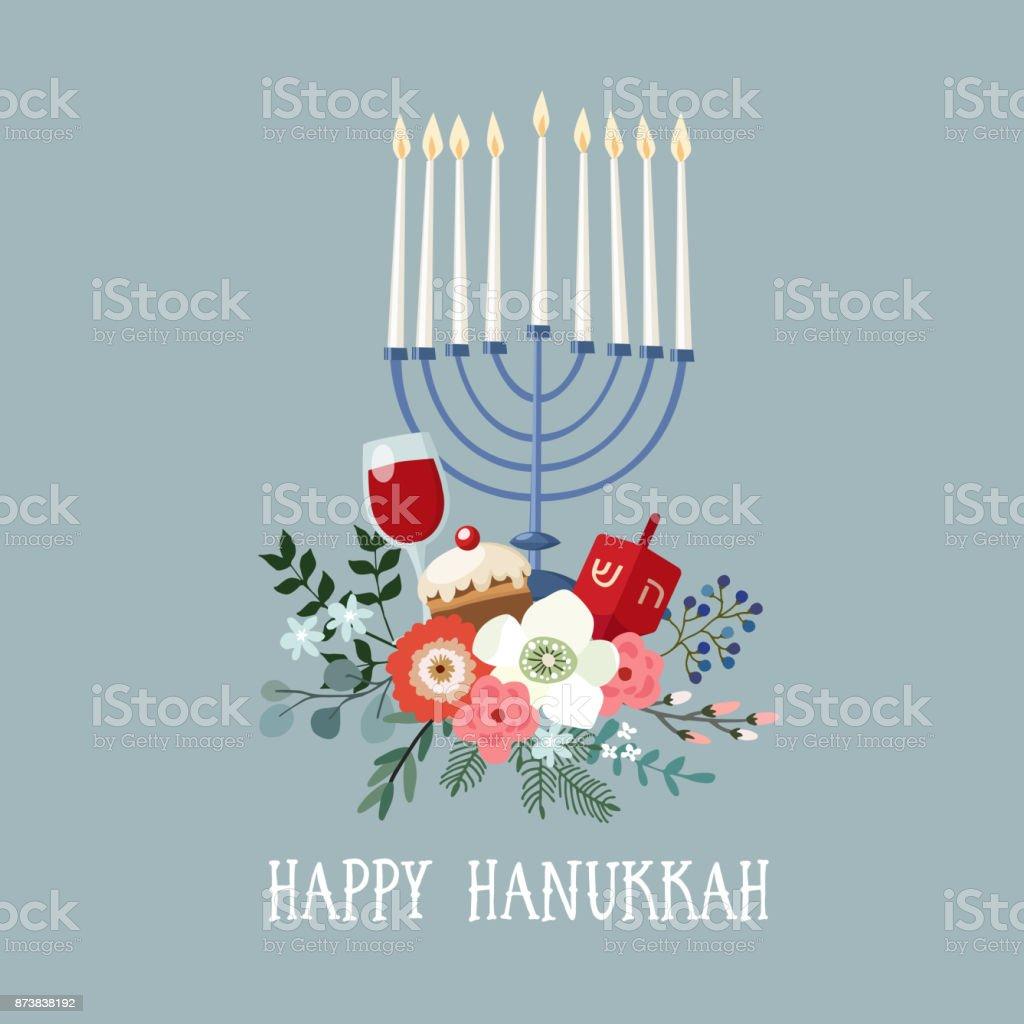 Bonne carte de voeux Hanoukka, invitation avec bougeoir dessinés à la main, dreidle, donut et bouquet floral. Illustration vectorielle pour la fête juive de la lumière - Illustration vectorielle