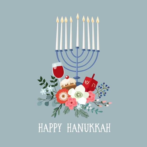 ilustraciones, imágenes clip art, dibujos animados e iconos de stock de feliz hanukkah tarjetas, invitación con candelabro dibujado a mano, dreidle, donut y bouquet floral. ilustración de vector para el festival judío de la luz - jánuca