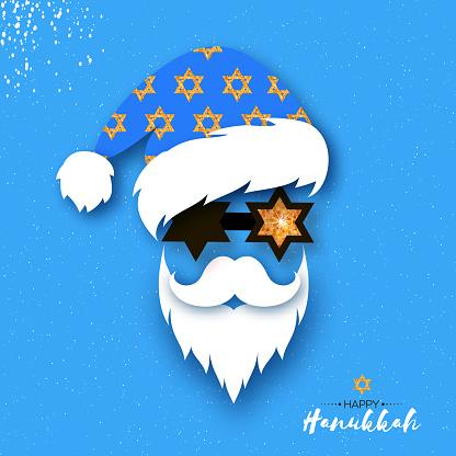 Happy Hanukkah greeting card. Jewish holidays. Chanukah. Star David glowing. Merry Christmukkah Santa. Christmas and Hanukkah.