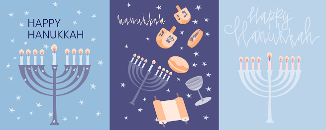 Happy Hanukkah greeting card template with menora, dreidel, chocolate coins and jelly donuts. Hand drawn flat vector illustration. Handwritten lettering.