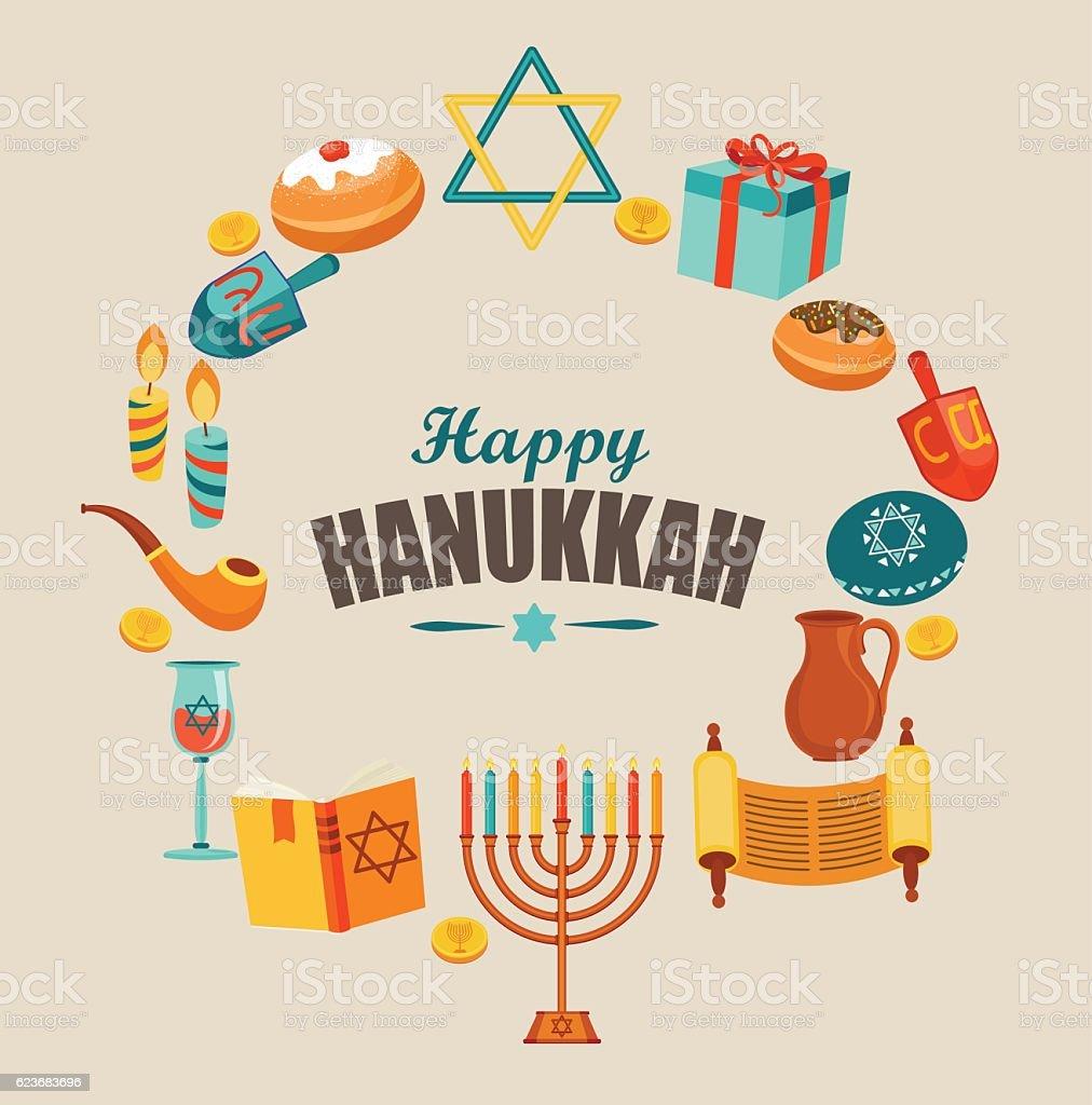 Happy Hanoukka Carte de voeux et d'anniversaire. - Illustration vectorielle