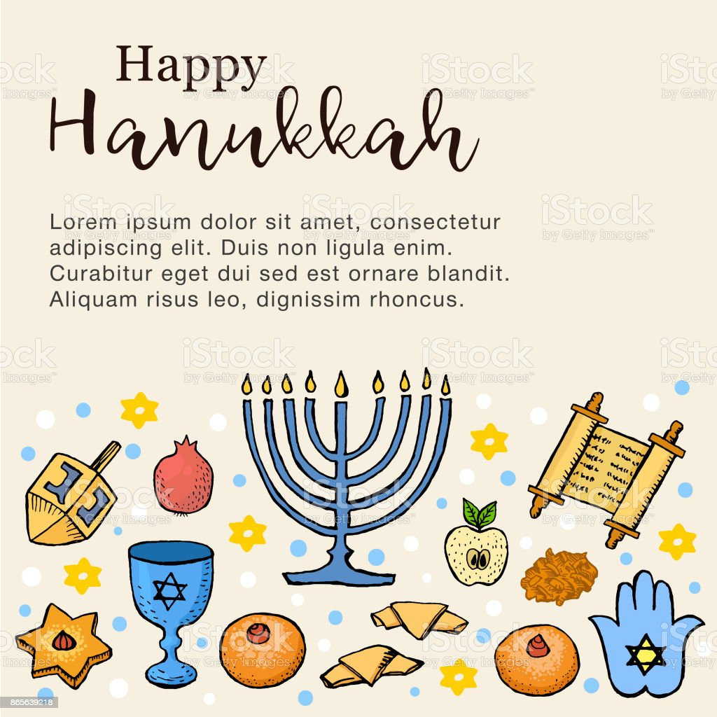Happy Hanukkah Greeting Card With Hand Drawn Icons Banner Flyer