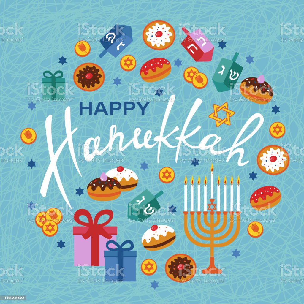 Happy Hanukkah Greeting Card With Menorah Dreidels Gift Boxes Hebrew Letters Donuts Star David Stock Illustration Download Image Now Istock