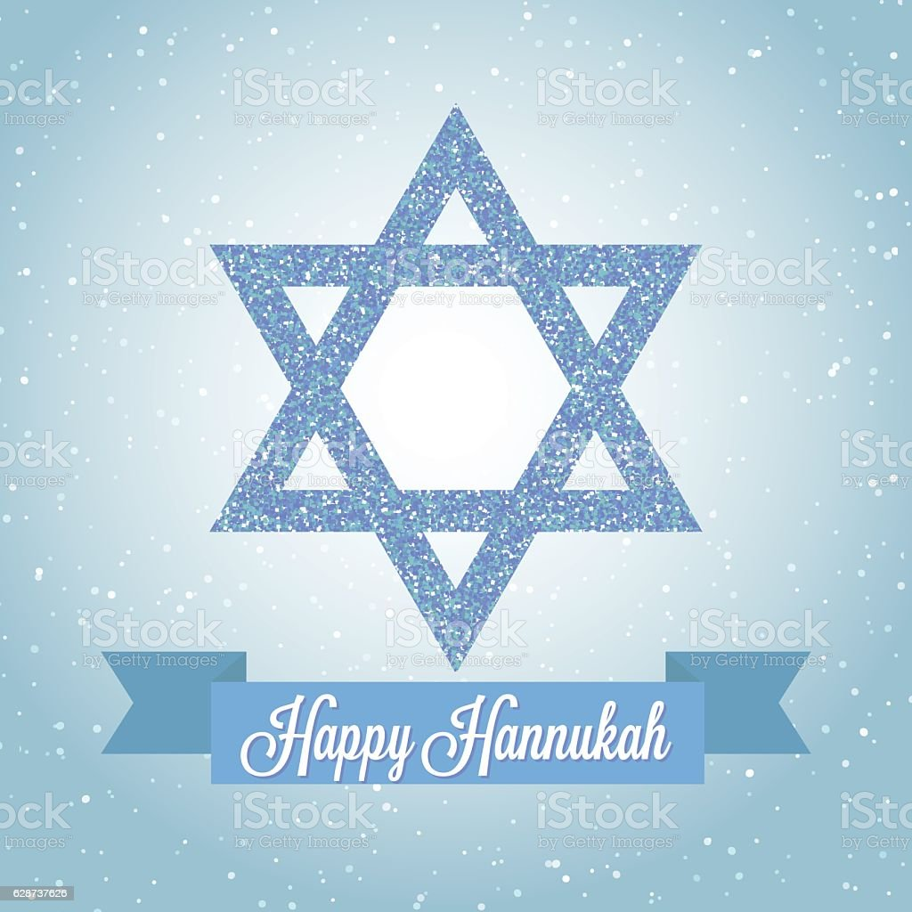 Happy Hanukkah greeting card with Star of David and ribbon. vector art illustration