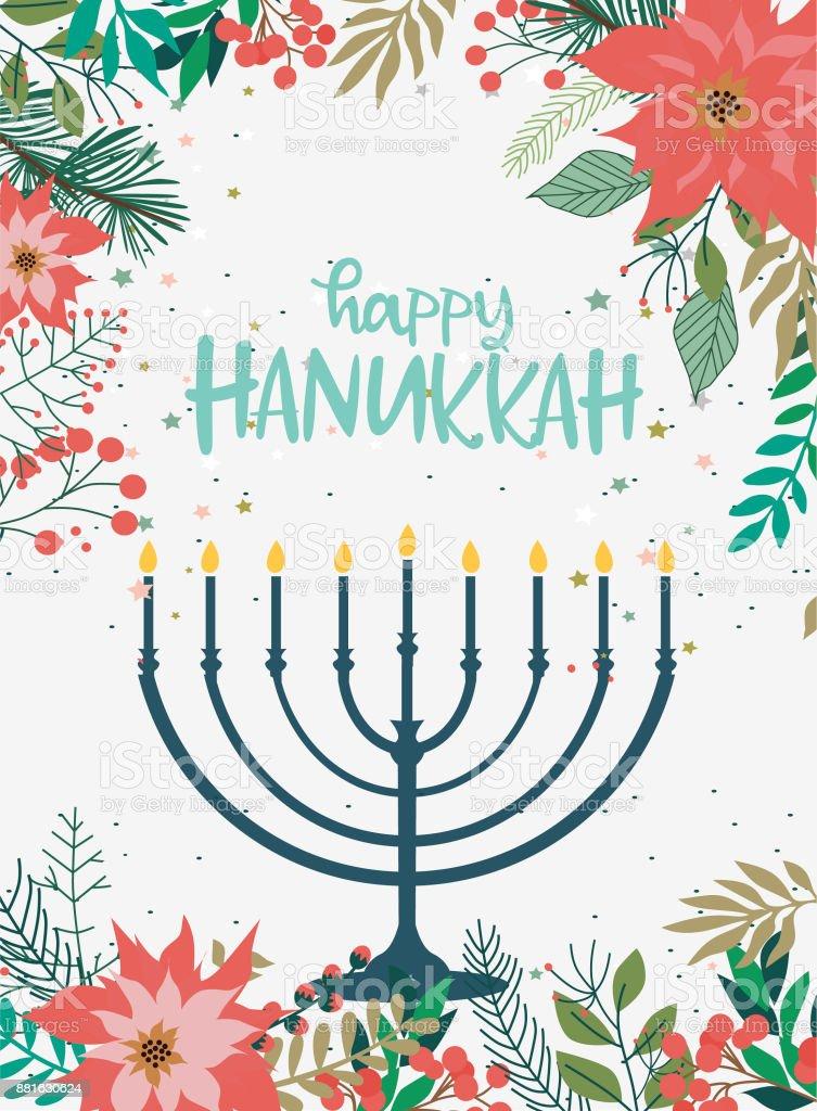 Hanukkah heureux, cartes de souhaits, flyer, affiche - Illustration vectorielle
