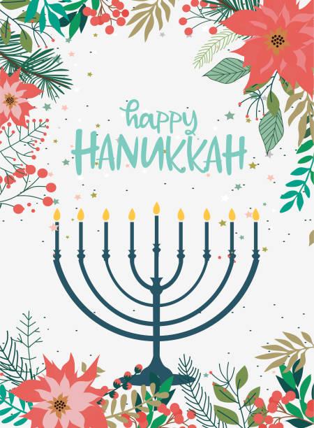 ilustraciones, imágenes clip art, dibujos animados e iconos de stock de feliz hanukkah tarjetas de felicitación, folleto, cartel - jánuca