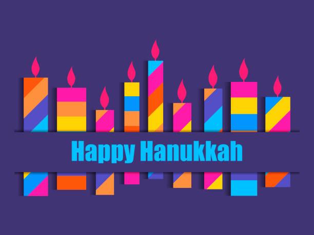 ilustraciones, imágenes clip art, dibujos animados e iconos de stock de feliz hanukkah. velas de hanukkah. multi nueve velas de color. vector de - jánuca