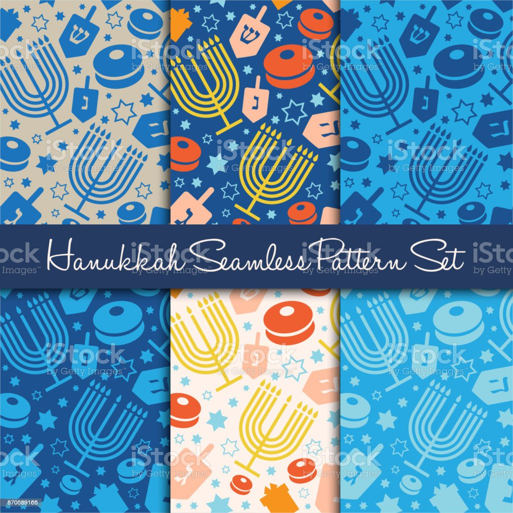 Happy Hanukkah holiday seamless pattern or background. vector art illustration