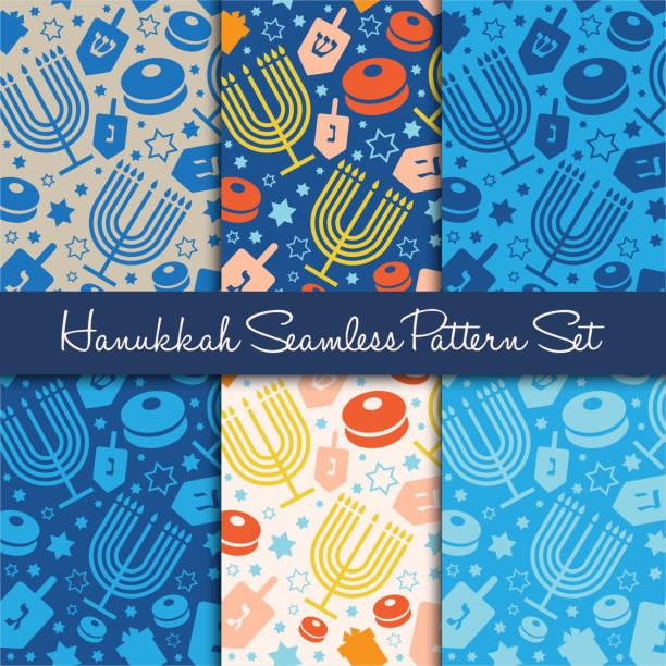 ilustraciones, imágenes clip art, dibujos animados e iconos de stock de feliz hanukkah fiesta sin fisuras patrón o fondo. - jánuca