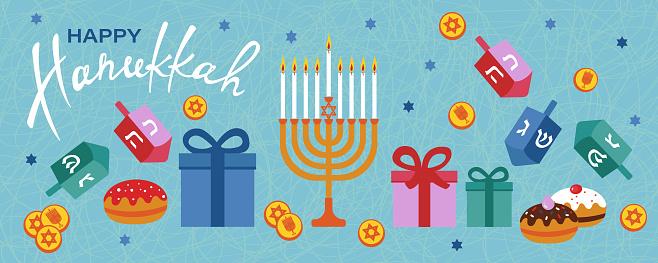Happy Hanukkah horizontal banner with menorah, dreidels, gift boxes, hebrew letters, donuts, star David.