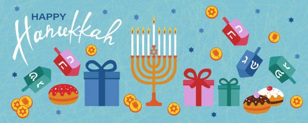 ilustraciones, imágenes clip art, dibujos animados e iconos de stock de feliz estandarte horizontal hanukkah con menorah, dreidels, cajas de regalo, letras hebreas, rosquillas, estrella david. - hanukkah