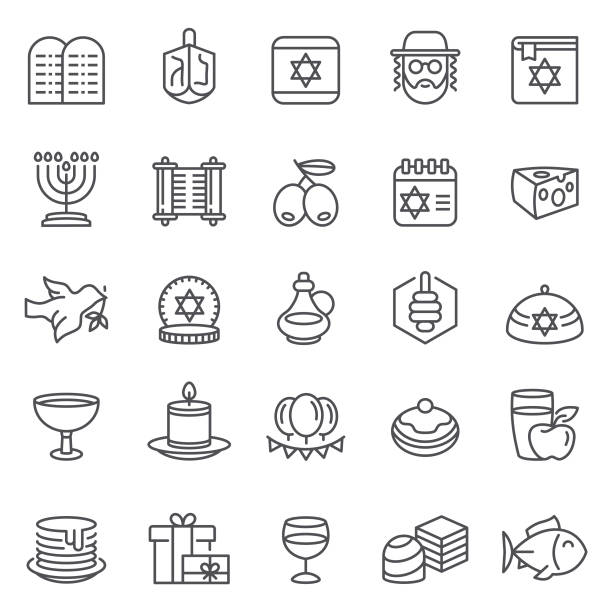 Happy Hanukkah Icons Vector Set of Hanukkah Icons with olive oil, dreidel, and gifts symbols religious symbol stock illustrations
