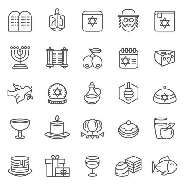 ilustraciones, imágenes clip art, dibujos animados e iconos de stock de iconos de feliz hanukkah - hanukkah