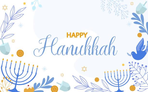 ilustraciones, imágenes clip art, dibujos animados e iconos de stock de ilustración feliz hanukkah, festival judío de las luces tradicional de fondo de vacaciones. - jánuca