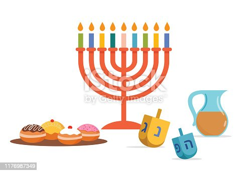 Happy Hanukkah, Jewish Festival of Lights background for greeting card, invitation, banner with Jewish symbols as dreidel toys, doughnuts, menorah candle holder. Vector illustration