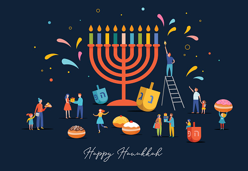 Happy Hanukkah, Jewish Festival of Lights scene with people, happy families with children. Vector illustration