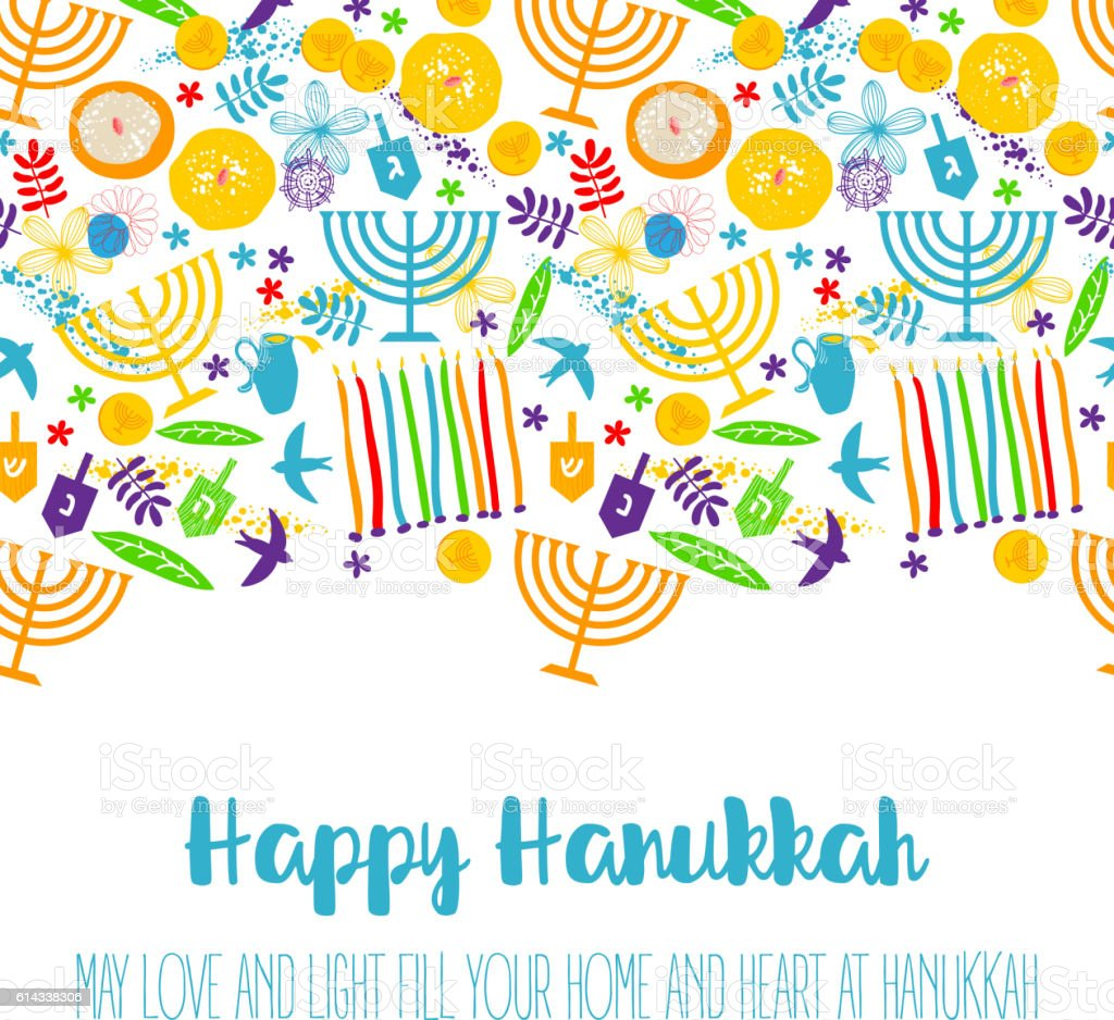 Happy Hanukkah, Jewish holiday background vector art illustration