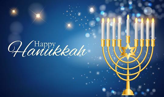 Happy Hanukkah, Jewish Holiday Background. Vector Illustration. Hanukkah is the name of the Jewish holiday