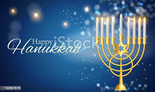 istock Happy Hanukkah, Jewish Holiday Background. Vector Illustration. Hanukkah is the name of the Jewish holiday 1193567679