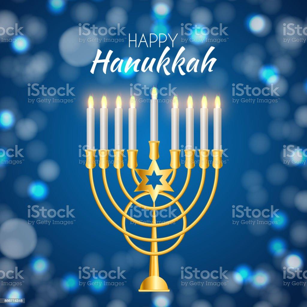 Happy Hanukkah Jewish Holiday Background Vector Illustration