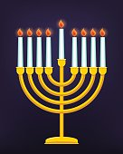 Happy Hanukkah, Jewish holiday. Golden menorah with burning candles.