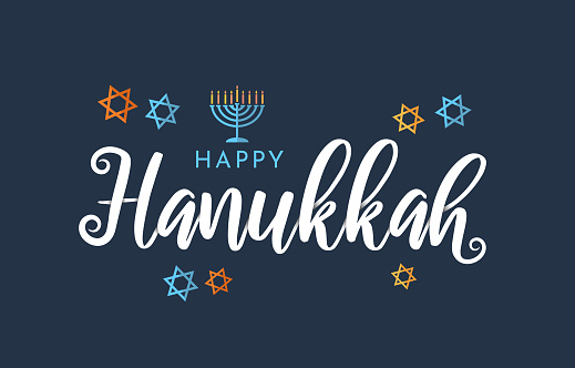 Happy Hanukkah lettering on blue background with menorah and stars. Vector