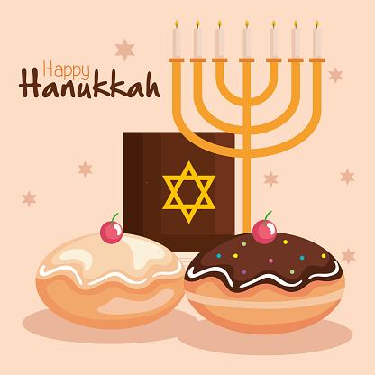 Happy hanukkah menorah torah and sufganiot vector design