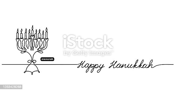 istock Happy Hanukkah menorah vector background with lettering Happy Hanukkah and copy space. One continuous line drawing illustration, background, banner 1253428268