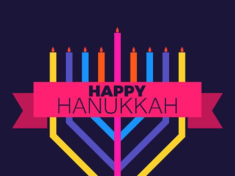 Happy Hanukkah. Multi colored menorah with nine candles and ribbon. Jewish festival greeting card. Vector illustration