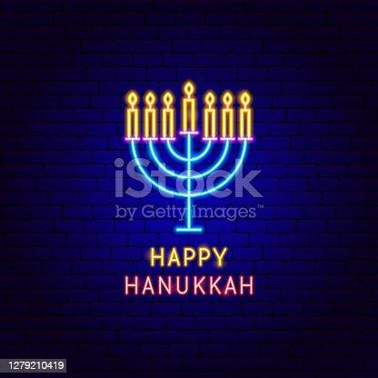 istock Happy Hanukkah Neon Label 1279210419
