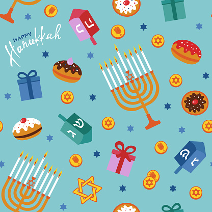 Happy Hanukkah seamless pattern with menorah, dreidels, gift boxes, hebrew letters, donuts, star David. Jewish Festival of Lights vector template.