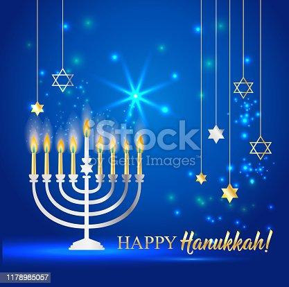 Happy Hanukkah Shining Background with Menorah, David Star and Bokeh Effect.