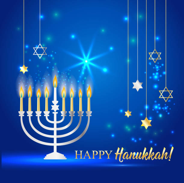 ilustraciones, imágenes clip art, dibujos animados e iconos de stock de feliz hanukkah brillante fondo con menorah, david star y efecto bokeh. ilustración vectorial en azul. - hanukkah