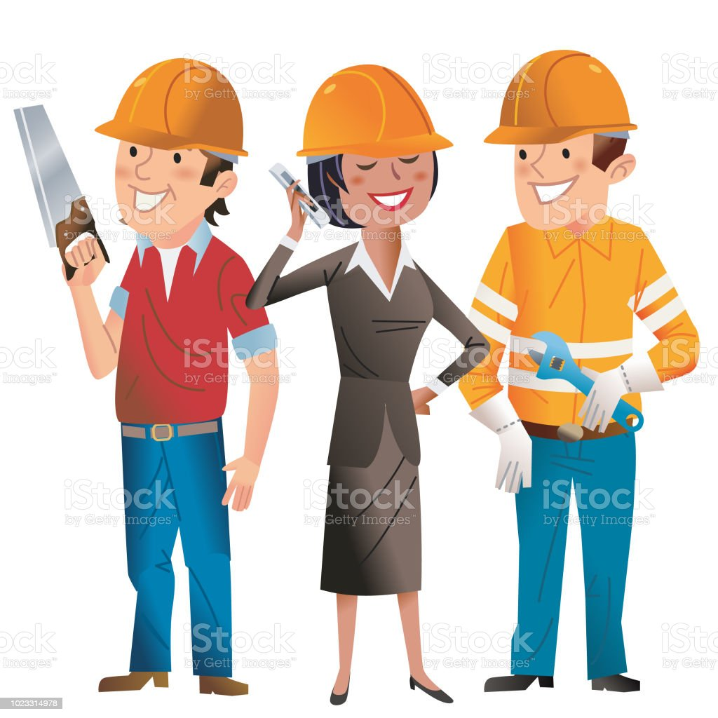 Happy Hard Hat Folks vector art illustration