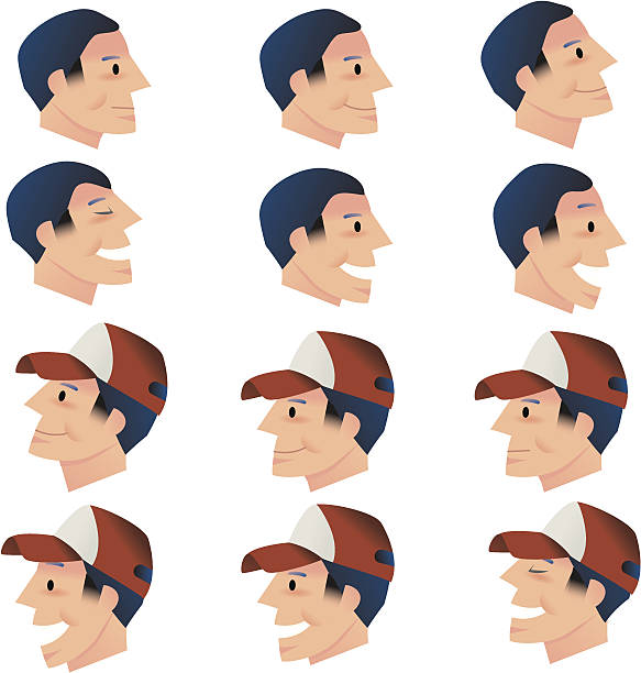 Happy heads and hats vector art illustration