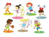 Happy healthy and active children doing indoor and outdoor sports