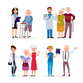 Happy healthy Senior people and doctors having medical check up in nursing home vector flat illustration. Old people and nurses cartoon characters infographic elements isolated on white background.