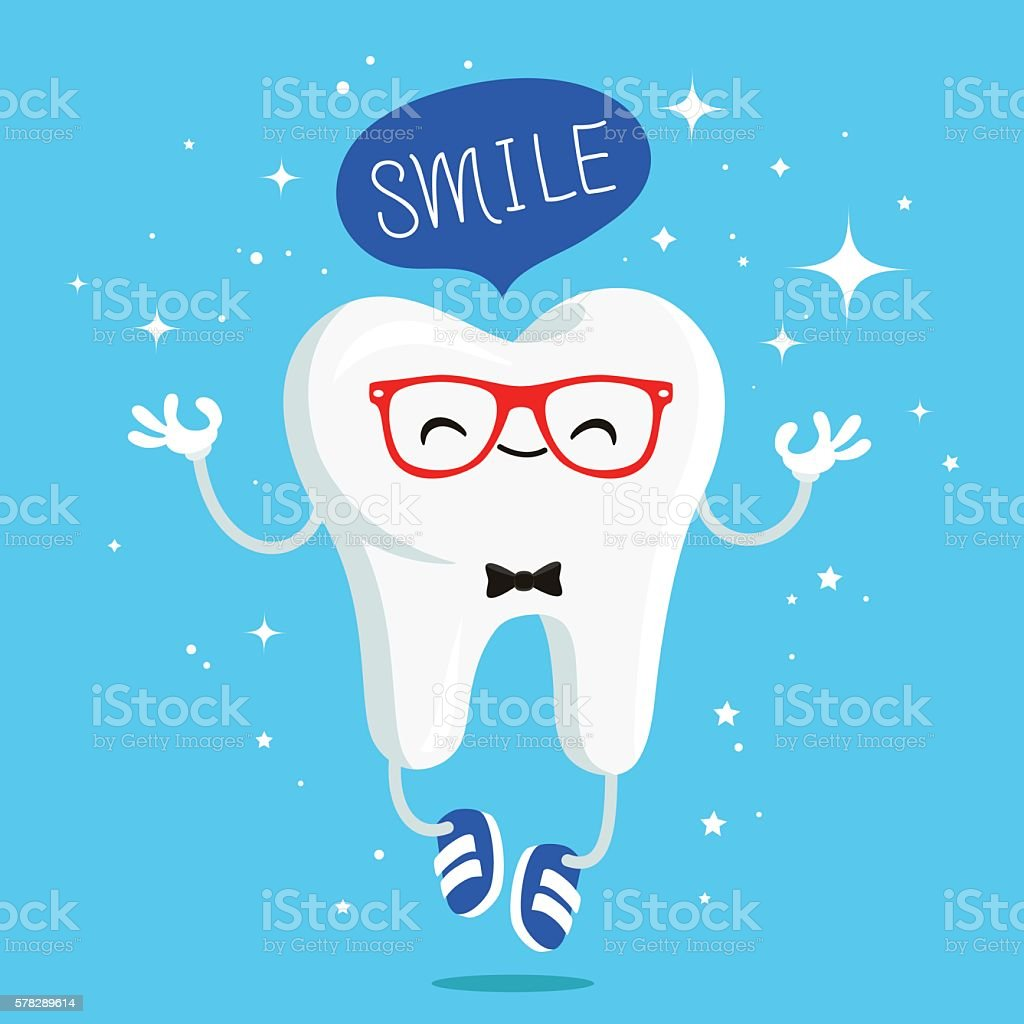 Happy healthy smile tooth in red glasses vector art illustration