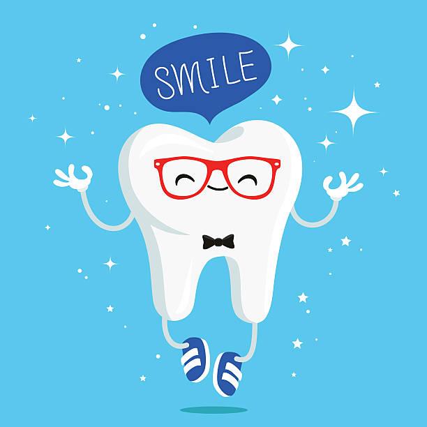 bildbanksillustrationer, clip art samt tecknat material och ikoner med happy healthy smile tooth in red glasses - hand tänder ett ljus